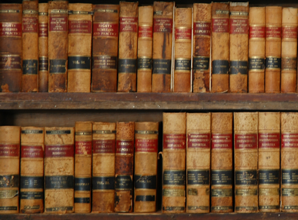 bookshelves filled with legal books
