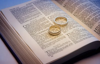 Christian marriage (wedding rings on an opened bible)